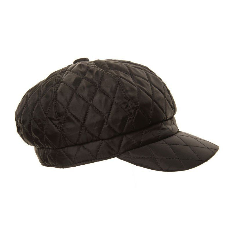 Bakerboy Hat - Ladies Black Quilted Winter Rain Hat 3a6a146fb9d