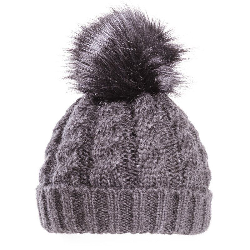 0043435f Ladies Black Bobble Hat - Chunky Winter Beanie | It's My Hat