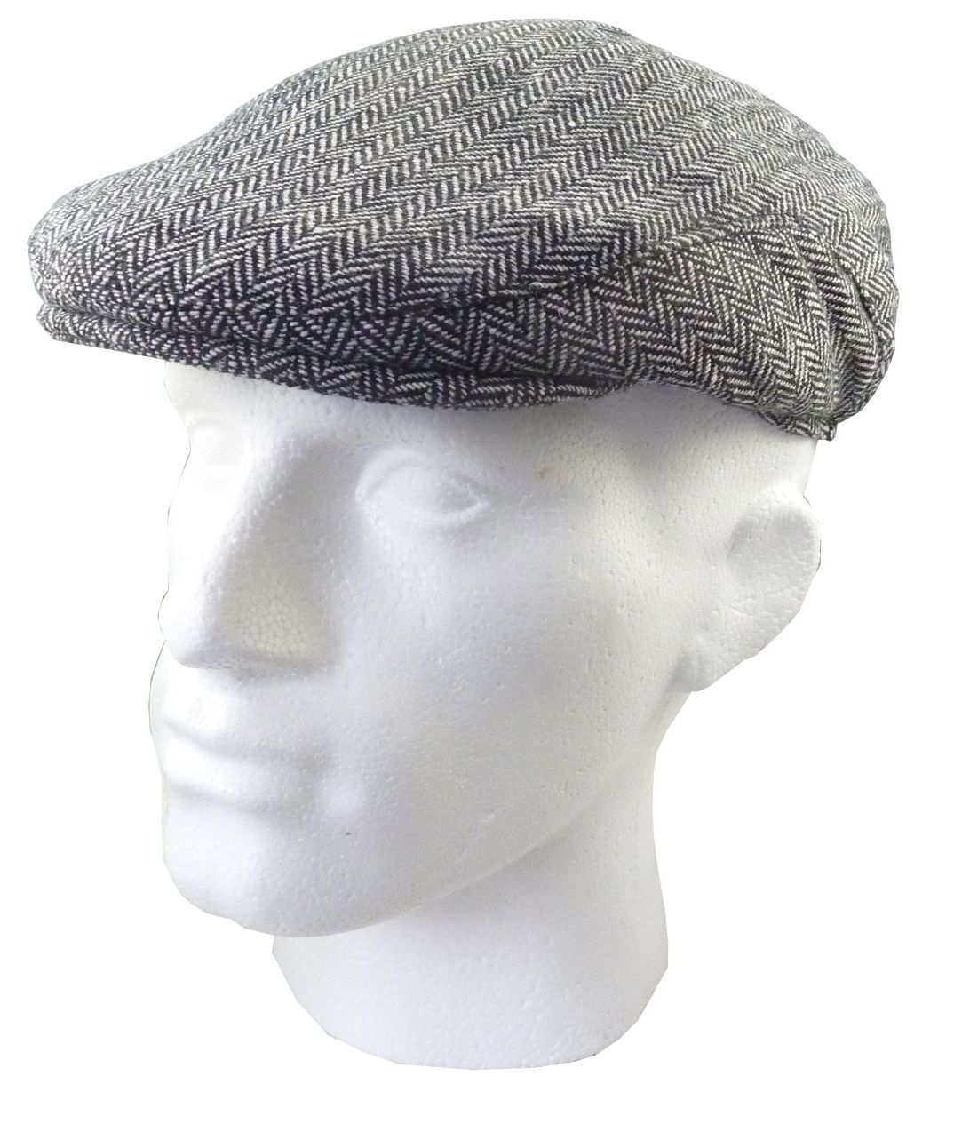 b07d0d1c3 Flat Cap - Classic Tweed Wool Black Herrigbone Hat