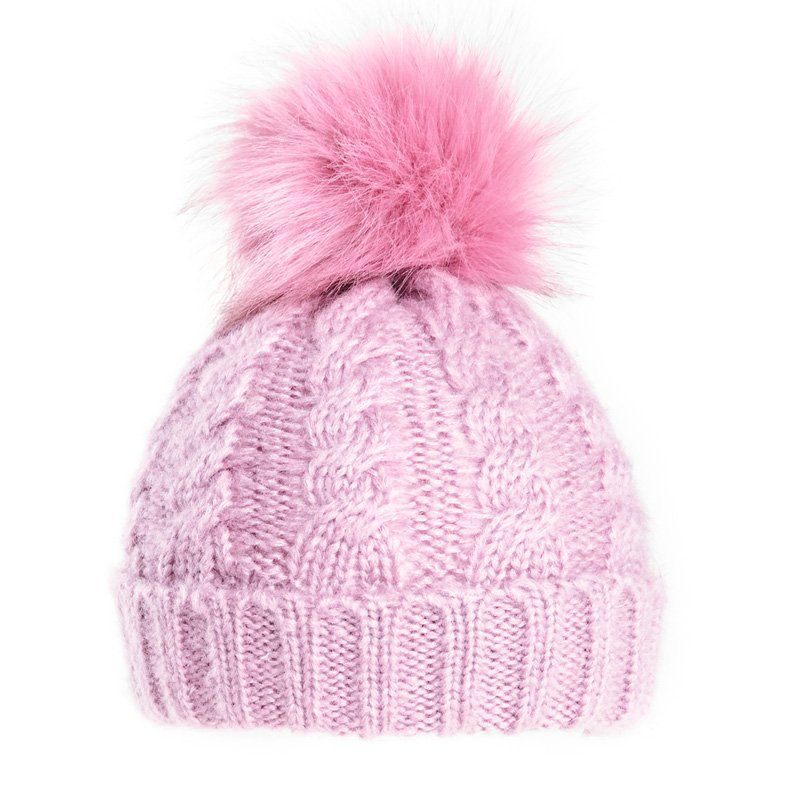 Ladies Pink Bobble Hat - Chunky Winter Beanie Pink  175373ca080