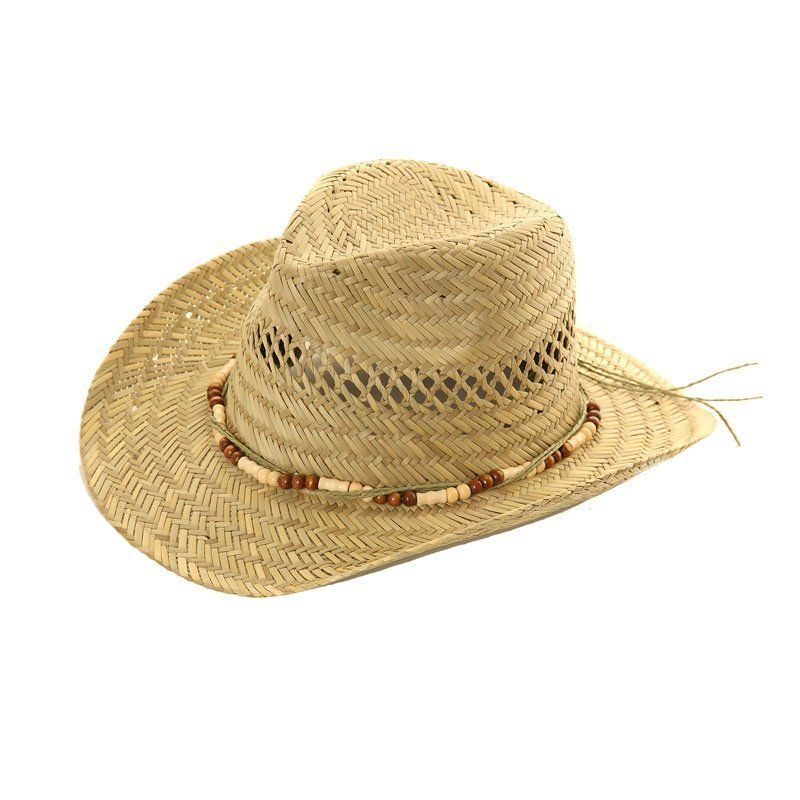 b41765175525e Mens Womens Straw Cowboy Hat With Bead Band - Sun Hat