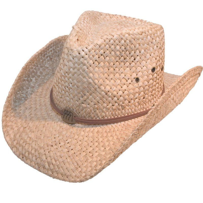 Mens Womens Straw Cowboy Hat With Brown Leather Band
