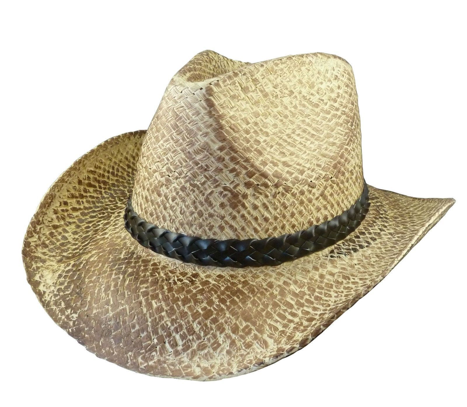 6da9680be78 Vintage Look Straw Cowboy Hat With Leather Band